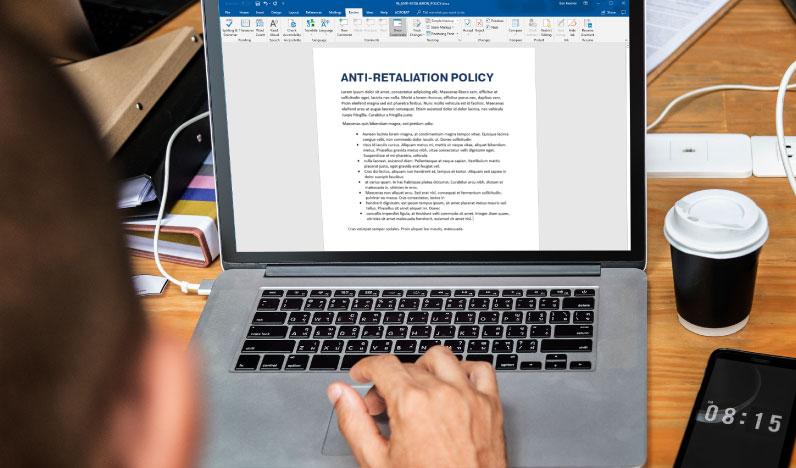 HR anti-retaliation policy document
